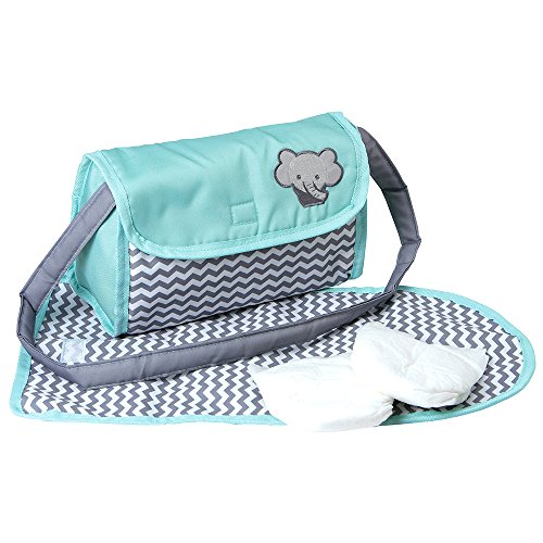 Adora Baby Doll Zig Zag Diaper Bag Accessories Changing Set Gender Neutral Teal Pattern Design for Kids 3 years & up (Baby Adora Doll)
