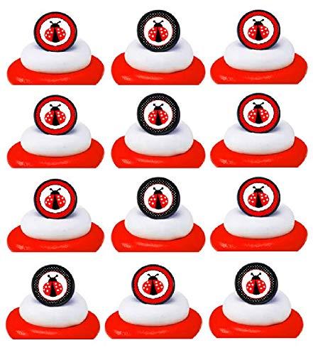 Ladybug Cupcake - Lady Bug Easy Topper Cupcake Decoration Rings -12pack