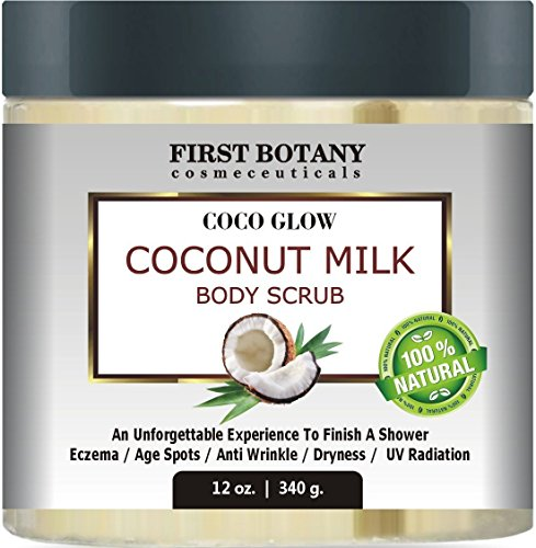 100% Natural Coconut Milk Body Polish 12 oz. With Dead Sea Salt and Vitamin E. Powerful Body Scrub Exfoliator and Daily Moisturizer For All Skin ()
