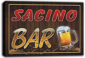 scw3-089455 SACINO Name Home Bar Pub Beer Mugs Cheers Stretched Canvas Print Sign