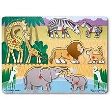 Melissa & Doug Mother and Baby Wild Safari Animals Wooden Peg Puzzle (8 pcs)