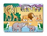 Melissa & Doug Mother and Baby Wild Safari Animals Wooden Peg Puzzle (8 pcs)