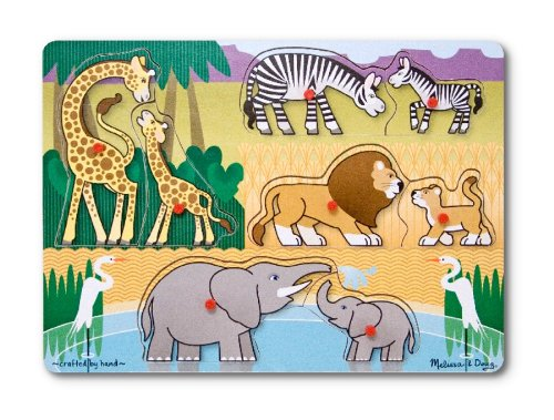 Melissa & Doug Zoo Peg - Melissa & Doug Mother and Baby Wild Safari Animals Wooden Peg Puzzle (8 pcs)