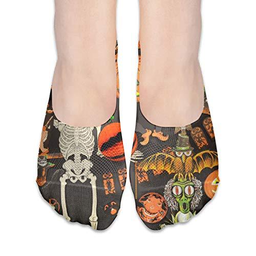 Halloween Vintage Pattern Women's Polyester Cotton Socks Ladies Boat Socks Deodorant Boat Socks Thin Section Casual Socks Low Breast Socks