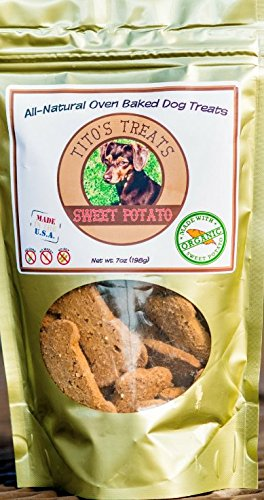 Tito's Treats Organic Sweet Potato Dog Treat All Natural 7 oz Anti Inflammatory and Anti Diabetic Blend Organic Oven baked Rich in Antioxidants Made in the USA Vitamins A C B6 Potassium & Iron (Potato Dog Organic Sweet Treats)
