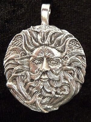 Circular Necklace Pewter (Circular Green Man Pewter Charm with Cord)