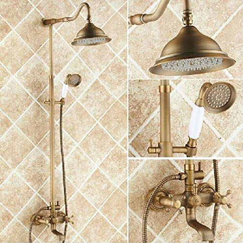 Antique Copper Centerset Brass Shower Faucet Ceramic Valve Bath Shower Mixer Taps 8inch Round Shower Head with handheld Sprayer Rainfall Shower Combo Set,Two Handles Three Holes