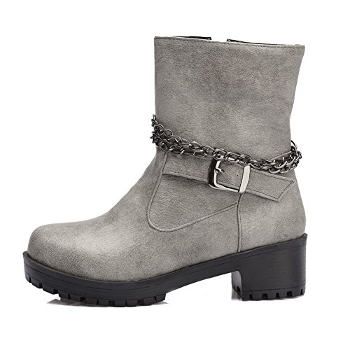 Women's PU Gray Zipper Solid Boots Kitten Top Low Heels Allhqfashion IxdqzI