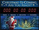 Countdown Today CD-CHRIS4 ''SANTA ARE YOU READY'' Countdown LED Clock, 23'' x 17'' x 2'', Black