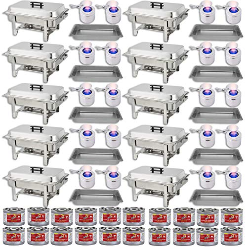 Chafing Dish Buffet Set w/Fuel — Water Pans + Food Pans 8 qt + Frames + Lids + Fuel Holders + 20 Fuel Cans + — 10 Full Food Warmer ()