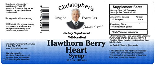 Hawthorne Berry Extract - Christopher's Original Formulas Nourish Hawthorn Berry Heart Syrup 16 Oz
