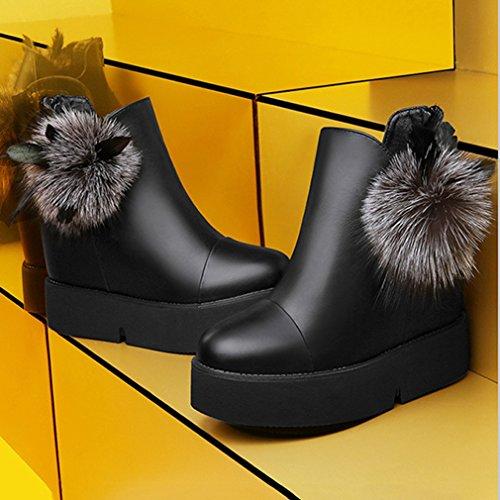 Bottes Boules de PU Poils Lisse Fashion Femmes Martin Inconnu B6TvqPFT