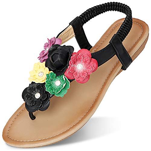 CARETOO Women Flat Sandals, T Strap Summer Thong Shoes, Flip Flop Casual Glitter Shoes