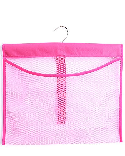 ALYER Hanging Mesh Shower Pockets for 34oz/1000ml Shampoo and Conditioner,Colorful Bath Toy Organizer,Hanging Tandem Type Closet Accessories Storage,Pink