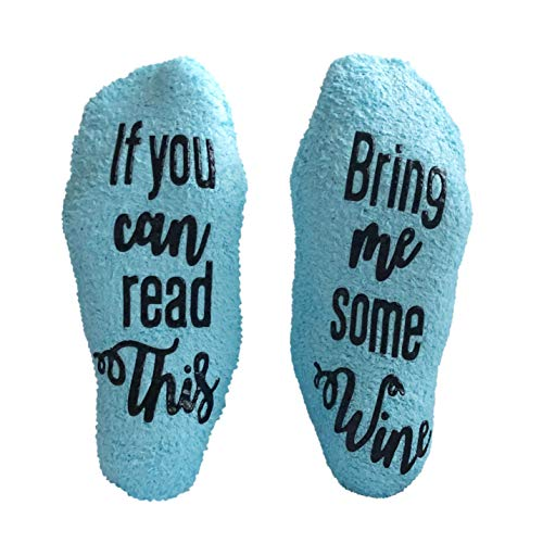 Gifts for Women - Birthday Gift for Her Mom - Funny Wine Socks - Blue with Cotton Bag and Anti-slip by FOLE INC by FOLE