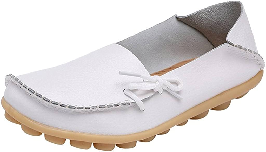 Fangsto Womens Cowhide Leather Slipper Loafers Flat Shoes Slip-Ons