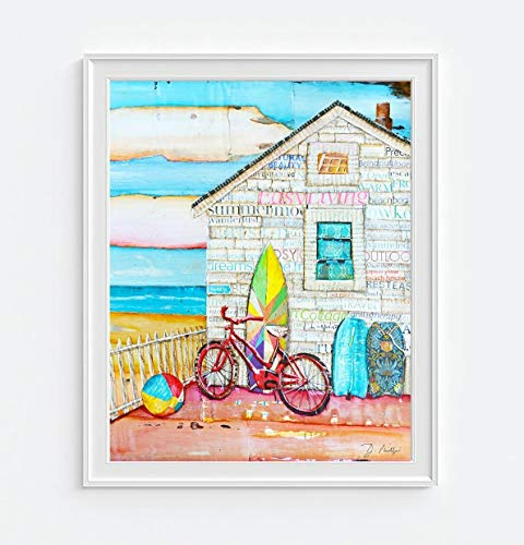 Ain't It Fun - Danny Phillips art print, UNFRAMED, Beach house coastal vacation retro vintage mixed media art wall & home decor poster, 8x10 inches