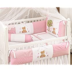 Bear Themed Baby Girl Pink and White 10 Pcs Nursery Crib Set Embroidered