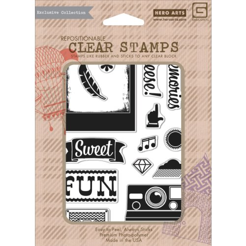 Hero Arts NOM037177 Basic Grey Hipster Clear Stamps By Hero Arts, Cheese 12 Images