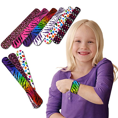 Slap Bracelets - Mega Bulk Pack of 50 Assorted Print Heart and Animal Slap Bands - Enjoy These Fun Pattern Hand-bands at School, Birthday Parties, Classroom Awards... and So Much More!!! by Toy Cubby