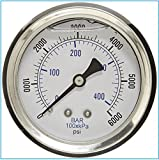 5 000 psi pressure washer - LIQUID FILLED PRESSURE GAUGE, 2.5