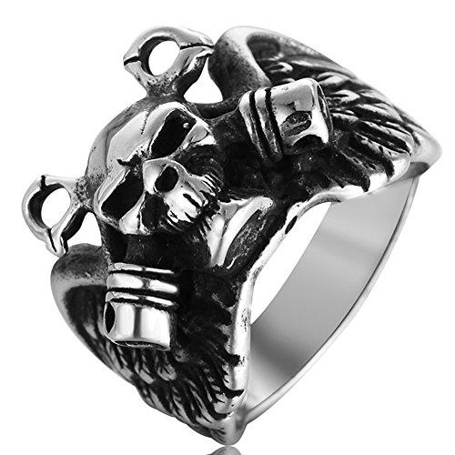 Men's Vintage Gothic Stainless Steel Band Rings Silver Black Large Devil Skull Wing Unisex Punk Biker Rings Size (Mens Skull Wings)
