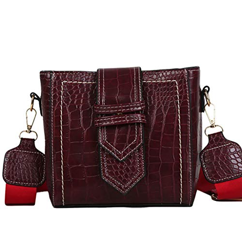HOSOME Womens Fashion Flap Bag Patent Leather Broadband Crossbody Shoulder Bag Wine