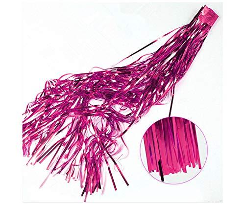 ShiDianYi Foil Fringe Skirt-3FTx8FT-Fuchsia-Metallic Foil Fringe Curtain/Photo Backdrop/Hanging Tinsel for Window Curtain (Fuchsia) (Fuchsia Foil)