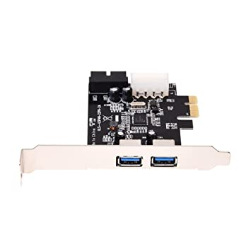 TOOGOO(R)Tarjeta controladora USB 3.0 (Supervelocidad) de 2 puertos PCI-E PCI Express de 19 pines Tarjeta de expansion USB 3.0 con conector de ...