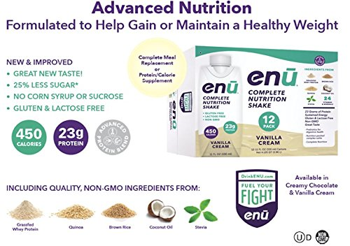 Meal Vanilla Cream (ENU Nutrition Shakes, 23g Protein / 450 Calories, Meal Replacement for Weight Gain (Vanilla Cream, 12 Pack, 11oz))