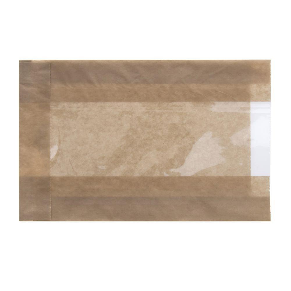 EcoCraft Kraft Paper Single Serve Window Bag - 5'' L x 1 1/2 D x 7'' H