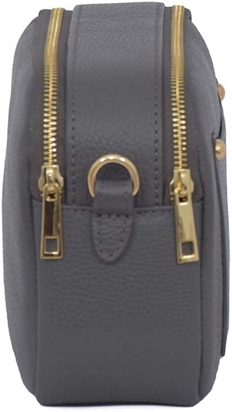 A to Z Leather Kompakte Umhängetasche aus echtem weichem Leder für Damen mit kleinem außenfach für Karten und doppeltem Reißverschluss Dunkelgrau