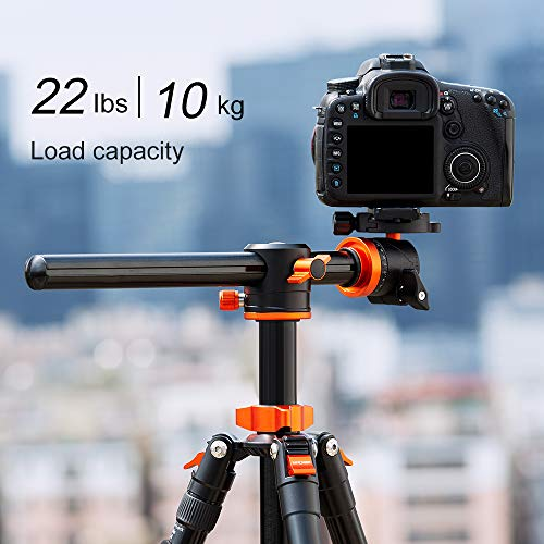 K&F Concept TM2515T1 Professional 67 inch Camera Tripod Horizontal Aluminium Tripods Portable Monopod with 360 Degree Ball Head Quick Release Plate for Canon Nikon Sony DSLR Cameras