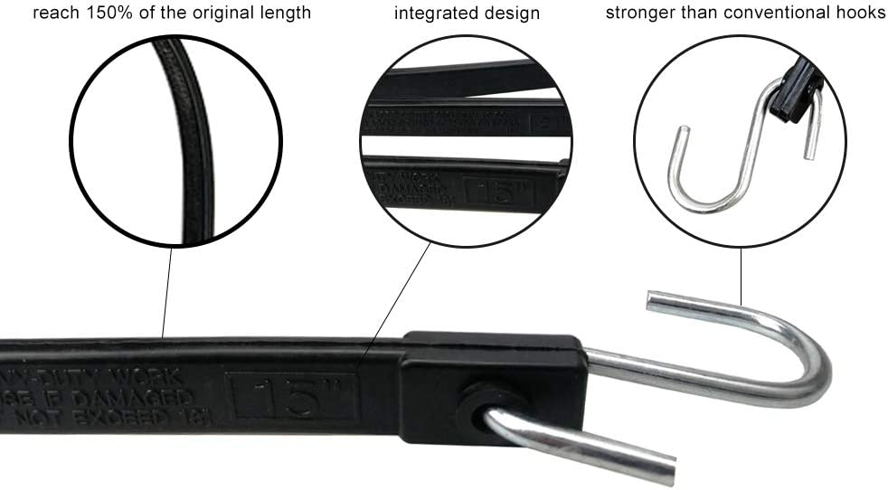 10 packs,Black Ideal for Securing Tarps Canvases ROBLOCK Rubber Tarp Straps 31 Long Heavy-Duty Tie EPDM Bungee Cord Down with Crimped Metal S Hooks