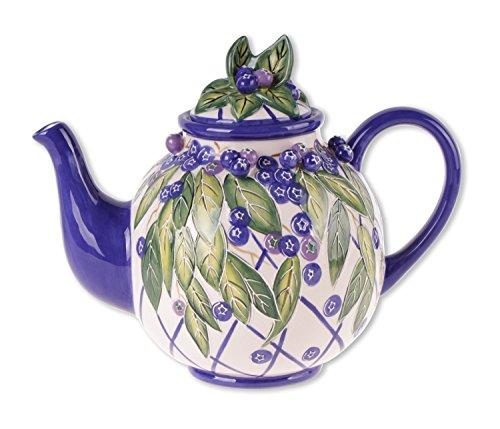 Blue Sky Ceramic Heather's Blueberry Teapot, 9 x 6 x 7