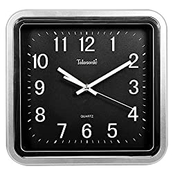 Quietness @ Modern Colorful Creative Silent Non-ticking Wall Clock Square /10 inch/-1 Silver and Black