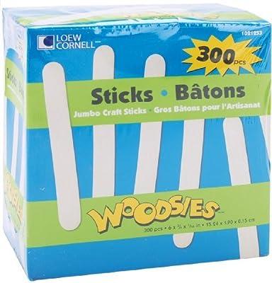 Loew Cornell 1021253 Woodsies Jumbo Craft Sticks, 300 Counts