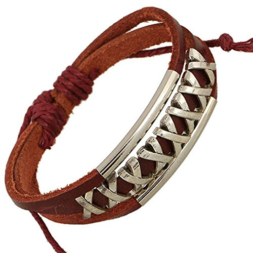 Price comparison product image Adorable Woman Multi Stand Silver Tore Tube Hand Braided Leather Bracelet