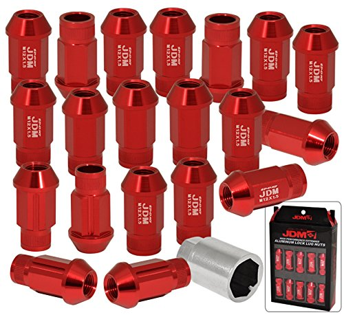 Universal JDM Sport M12x1.5MM Thread Pitch 20 Pieces JDM VIP Hexagonal Aluminum Open End Wheels Rims Tuner Locking Type Lug Nuts Set Kit Anodized Red + Key -