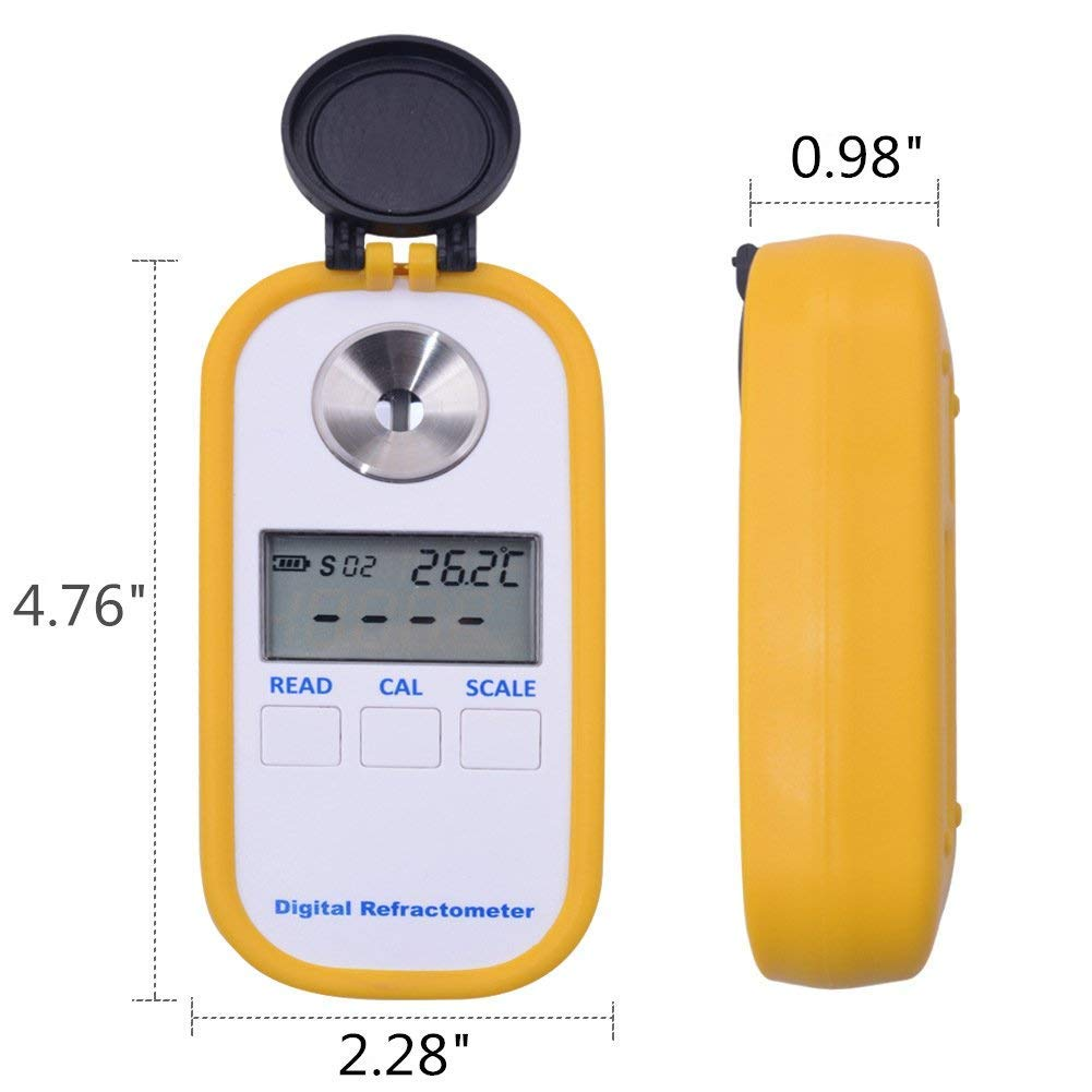 Digital Coffee Densitometer, Milk Concentration Refractometer Tester 0-30% Scale W/Power Portable R
