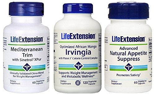 Life Extension Weight Loss Combo Pack - Includes Advanced Natural Appetite Suppress, Mediterranean Trim w/ Synetrol X-Pur, & Optimized Irvingia with Phase 3™ Calorie Control Complex