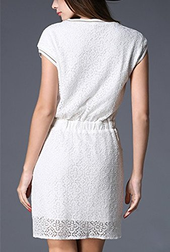 Lace Slashed White Tee Bobbycool Dress Slim Thread MS Package Stitching Hip vwvqfI5z
