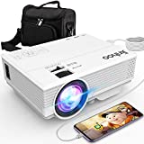 Jinhoo Latest Technology to Phone Projector, Mini Video Projector with 4200 LUX, Synchronize Smartphone Screen, 1080P Supported, Compatible with TV Stick, HDMI, USB, VGA, AV [with Projector Case]