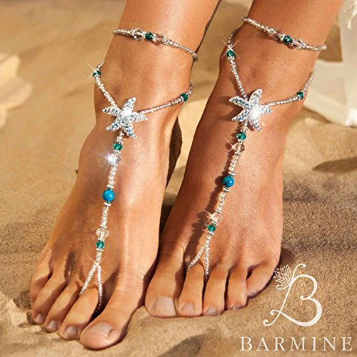 514de2682 Amazon.com  Beach wedding barefoot sandals Bridal foot jewelry Rhinestone  starfish barefoot sandals Barefoot Sandals Bridal shoes Footless sandals  Blue  ...