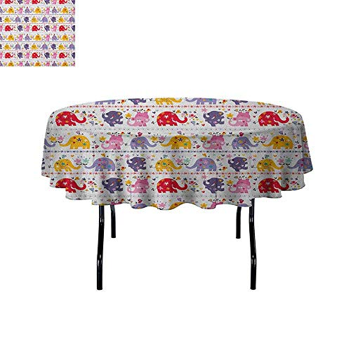 DouglasHill Kids Leakproof Polyester Tablecloth Dancing Floral Elephant Characters Smiling Faces Colorful Daisies Happy Singing Birds Outdoor and Indoor use D51 Inch Multicolor]()
