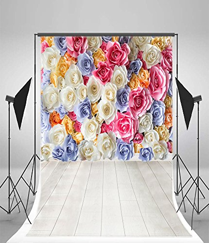 Leyiyi 5x7ft Photography Backdrops Wedding Party Background 3D Coloured Roses Wall Happy Birthday Vintage Wooden Floors Engagement Ceremony Baby Shower Photo Portrait Vinyl Studio Video Props (12' Single Silk)