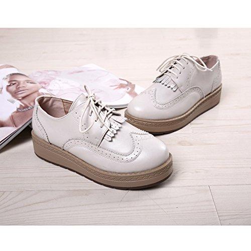 T-juillet Chaussures Mode Oxfords Femmes - Plate-forme Gland Perforé Semelle Épaisse Chaussures Blanc