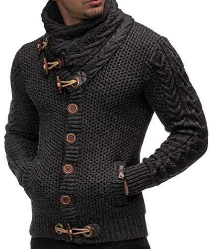 Mens Sweaters Turtleneck Cable Knit Button Down Cardigans Chunky Casual Fall Winter Jackets Coats Dark Grey ()