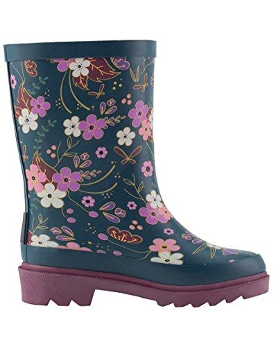 Oakiwear Kids Rubber Rain Boots, Midnight Floral, 4Y US Big Kid by Oakiwear (Image #2)