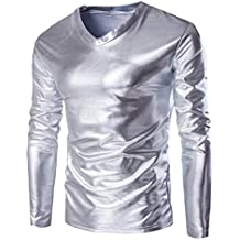 Goddessvan Mens Metallic Shiny Wet Look Long Sleeve T-Shirt Top Slim Fit Costume Blouse